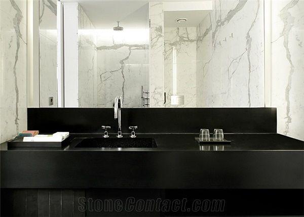Black Acrylic Solid Surface Bathroom Countertops Vanity Tops