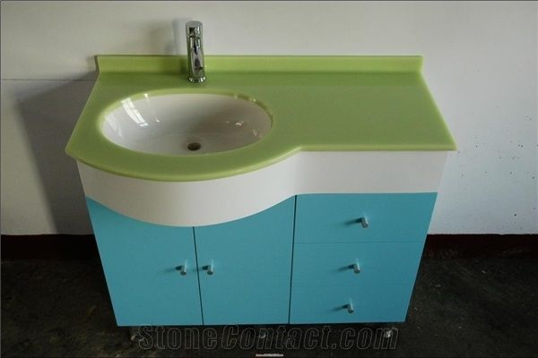 . Free Standing Solid Surface Countertops Modern Bathroom Cabinets