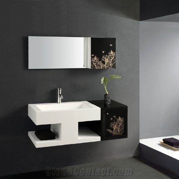 Modern Artificial Stone Bathroom Counter Top Wash Basin Cabinets