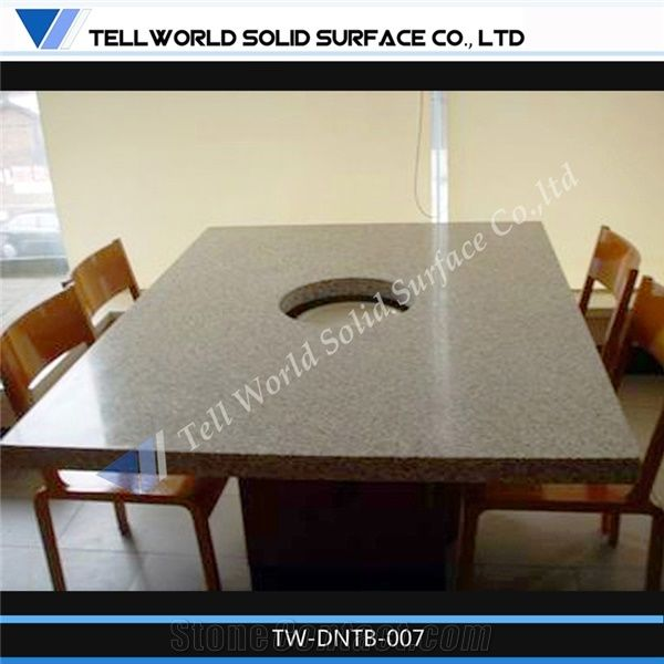 Restaurant Acrylic Solid Surface Dinner Table,Hot Pot Tables