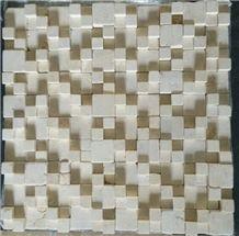 Blm-001, Royal Cream Marble Beige Limestone Mosaic