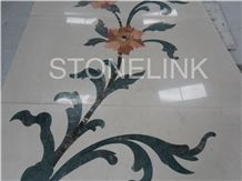 Slme-021- Water-Jet Marble Medallion-Water-Jet Medallion-Medallion-Marble Medallion-Floor Tiles, Green Marble Medallion