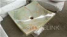 Slsi-015, Light Green Onyx Square Wash Basin