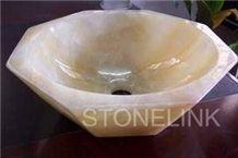 Slsi-045, Beige Onyx Hexagon Basin,Countertop Basin, Blonde Beige Onyx Sinks & Basins