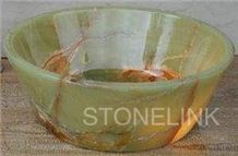 Slsi-053, Green Onyx with Red Vein Round Basin, Onyx Bowl, Countertop Basin, Damghan Green Onyx Sinks & Basins