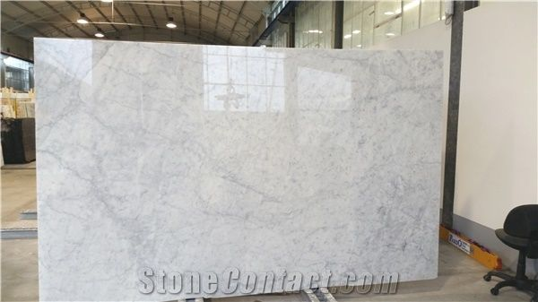 White Carrara Extra Marble Tiles Slabs Italy Polished Floor Wall
