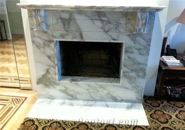 Calcutta Gold Marble Fireplace Surround Hearth White