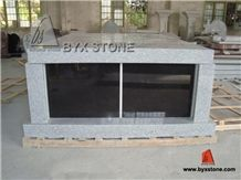 2 Crypt Black Shutter Grey Granite Mausoleum & Columbarium