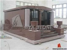 Red Granite Cremation Family Mausoleums for Cemetery