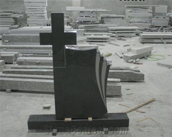 Black Granite Headstone Cross Tombstone Cross Headstone