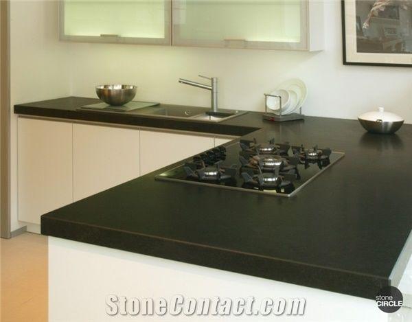 Nero Assoluto Zimbabwe , Nero Assoluto Granite Work Top Surface With Both Brushed And Honed