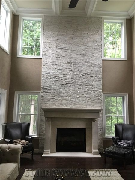 Stacked Stone Panel Fireplace Surround From United States