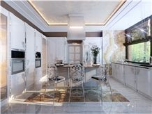 Brown Onyx Kitchen Wall and Flooring