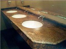 India Copper Brown Granite Bathroom Tops