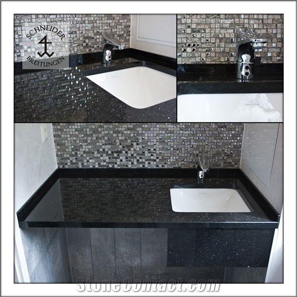 Black Star Galaxy Granite Vanity Top Glass Mosaic Back