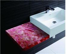 Pink Crystal Backlit Bath Top,Pink Semiprecious Vanity Top
