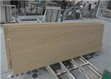 Beige Travertine Cut to Size Countertop for Kitchen, Bar with Bevel Edge, Turkey Cheap Yellow Marble Countertops