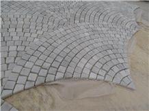 Carrara White Marble Mosaic Tiles, Italy White Marble Mosaic, Fanshaped/Sector Mosaics,Pebble Mosaics for Wall, Floor