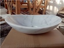 China Cheap Popular Guangxi White with Grey Veins/Lines Marble Polished Round Wash Bowls, Basins, Sinks for Bathroom, Natural Building Stone Deocration, Hotel, Mall, Toilet, Villa Interior Project