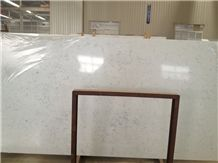 Chinese Cloudy White Quantum Quartz Stone Slabs, White Caesarstone Tiles