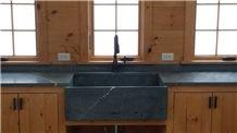 Alberene Soapstone Kitchen Perimeter Countertop and Farm Sink, Dark Grey Soapstone Vanity Tops