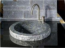 Tumbled Milly Grey Limestone Wall Cladding and Aswan Black Granite Sink