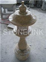 Slla-001,Sunset Gold Granite Lantern ,Stone Garden Lantern, G682 Yellow Granite Garden Lanterns