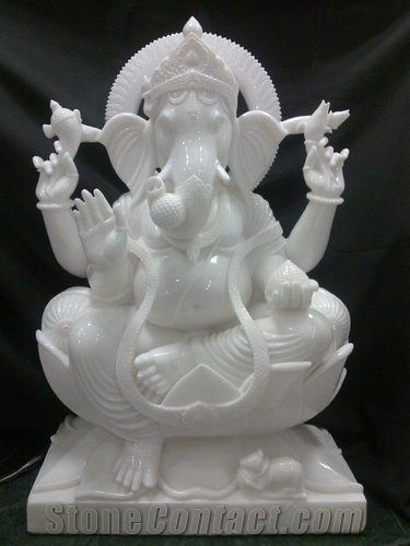 White Marble Ganesha Statue Makarana White Marble Statues From