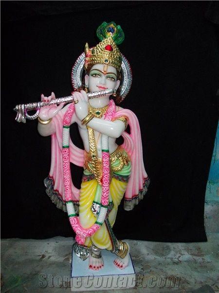 White Marble Krishna Statue India Stonecontact Com