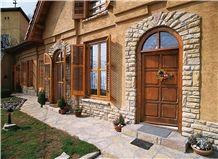 Gold Royal Stone Wall Brick, Beige Limestone Bricks, Wall Cladding, Veneer Stone