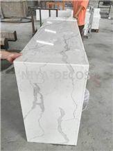Calacatta Carrara Quartz Stone Reception Desk /Artificial Stone Quartz Stone Table Tops