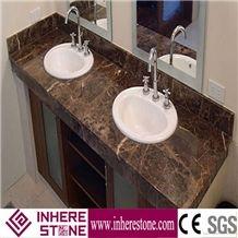 Dark Emperador Marble Bathroom Design