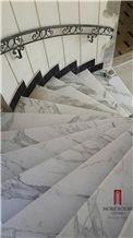 Greece Nevrokopion Volakas Semi White Marble Stair Marble Staircase in Marble Laminated Flooring Stair Treads