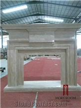 Italian Decorative Natural Stone Beige Marble Fireplace Design