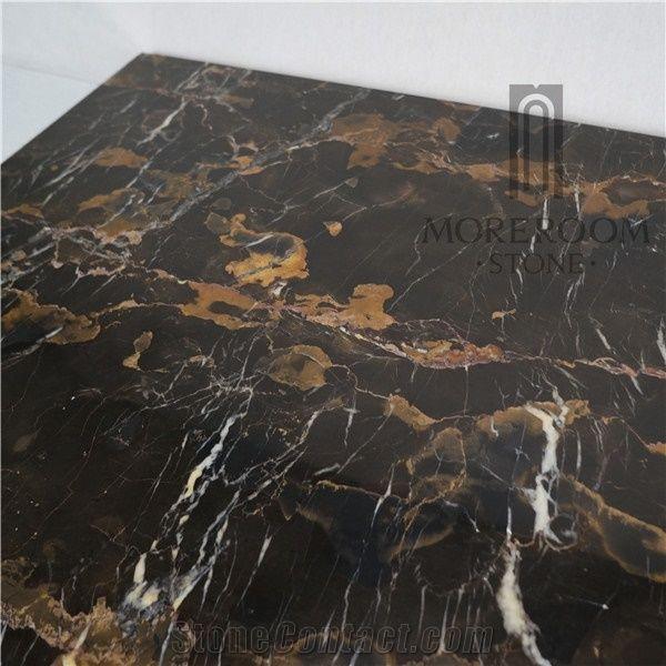 Pakistan Balochistan Black Gold Marble Floor Tile For