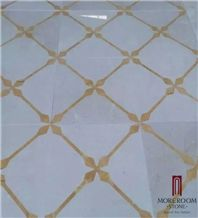 Turkey Beige Laminated Medallion, Marble Ultraman & Golden Onyx Marble Water Jet Medallion Floor Medallion Carpet Medallion Laminated Medallion for Floor Design