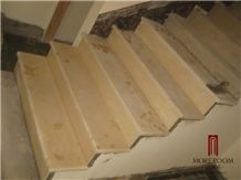 Turkey Beige Marble Natural Marble Stair Marble Staircase in Marble Composite Marble Stair Tread and Risers Decorative Stair Tread
