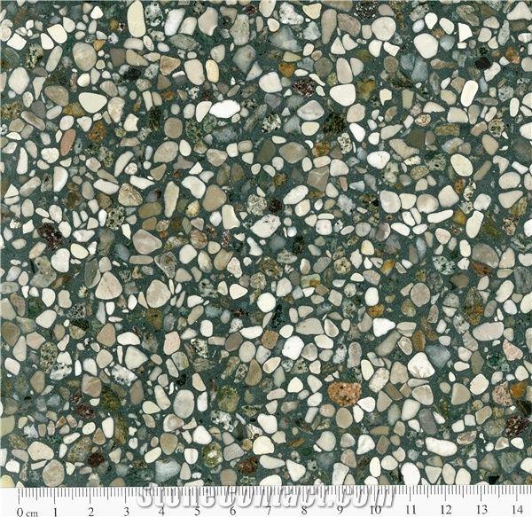 Super 11 Green Terrazzo Floor Covering Tiles Quartz Stone Slabs