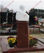 Leznykivske Red Granite Memorial Tombstone with White Marble Bust