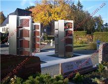 Rosso Toledo Granite Columbarium Cemetery Crypts, Red Granite Mausoleum Ukrain