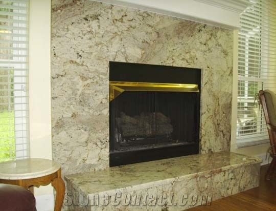 Taupe White Granite Fireplace Surround Brazil From Poland