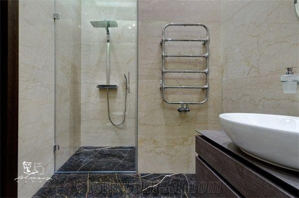 Swell Crema Nova Marble Bathroom Wall And Kashan Golden Black Interior Design Ideas Tzicisoteloinfo