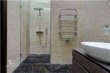 Crema Nova Marble Bathroom Wall and Kashan Golden Black Marble Flooring
