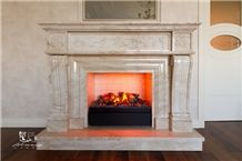 Daino Reale Marble Fireplace Mantel, Beige Marble Fireplace Italy