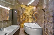 Onice Miele Nuvolato Onyx Bathroom Design, Yellow Onyx Walling Tiles Turkey