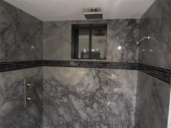 Tundra Blue Marble Bathroom Design From
