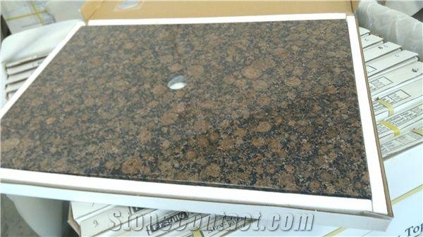 Baltic Brown Granite Vanity Top With Backsplash No Faucet Drilling 2 Diameter Cutout For Vessel Sink Bathroom Tops