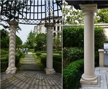 Beige Marble Garden Sculptured Roman Columns, Outdoor Architectural Columns, Exterior Landscaping Stones Column Tops & Bases