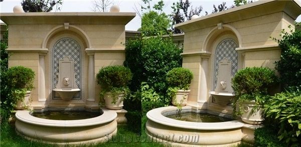 Beige Marble Garden Sculptured Water Fountains Landscaping