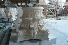 Beige Marble Roman Sculptured Columns, Outdoor Building Stones Architectural Corinthian Columns, Exterior Landscaping Stones Column Bases & Tops